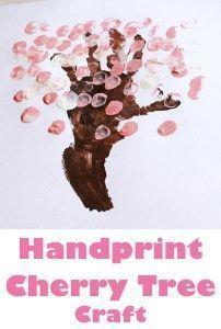 cherry blossom handprint tree - spring craft - spring tree- toddler craft - acraftylife.com kids craft #crafts #craftsforkids #kidscraft