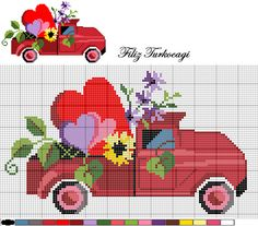 Truck and flowers x-stitch Cross Stitch Pillow, Mini Cross Stitch, Cross Stitch Heart, Cross Stitch Flowers, Cross Stitch Designs, Cross Stitch Patterns, Cross Stitching, Cross Stitch Embroidery, Easy Knitting Projects
