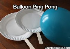 AWESOME! Play paper plate balloon ping pong. Can't wait to try this on a rainy day.
