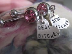 Best Bitches MATURE content belly button rings. Set of 2. Sterling silver friendship jewerly.  Mature content. BFF Best Friend gift on Etsy, $48.00