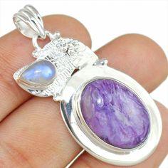 Cheroite & Moonstone 925 Sterling Silver Pendant Allison Co Jewelry Sp-2140 #Allisonsilverco