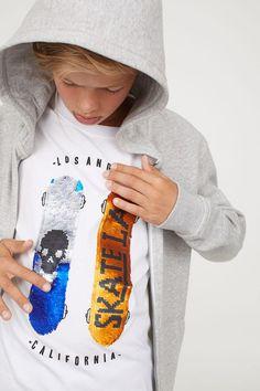 db9dcd9d -Shirt à motif - Blanc / Paillettes réversibles - Enfant | H & M US
