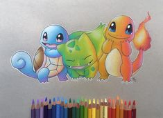 Drawing S, Painting & Drawing, Drawing Ideas, Prismacolor, Animal Drawings, Pencil Drawings, Pokemon Starters, Color Pencil Art, Cute Pokemon