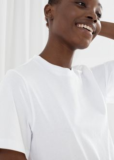 Boxy Organic Cotton Tee - White - Tops & T-shirts - & Other Stories Organic Cotton T Shirts, Cotton Tee, Fashion Story, White Tops, Shirt Outfit, Button Up Shirts, Personal Style, Crew Neck, Tees