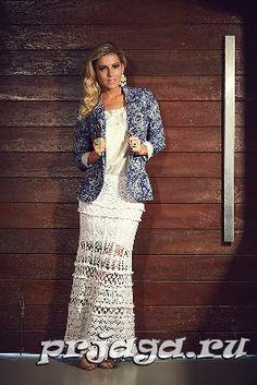 Crochet skirt, long, white, lace