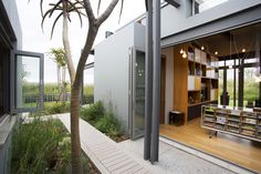 Well designed courtyard enhancing the relationship between interior and exterior spaces. Interior Architecture, Interior And Exterior, Modern Courtyard, Glass Structure, Courtyards, Mid-century Modern, Mid Century, Relationship, Spaces