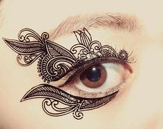 1 Pair  Eye Temporary Tattoo Makeup lover Eyeshadow Venetian Lace Mask Victorian bridesmaid gift Masquerade valentine's day gift for her