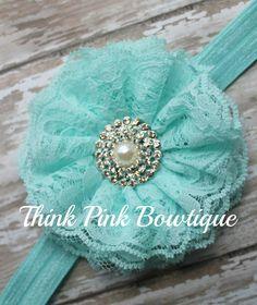 Lace headband, Baby headband, vintage headband, shabby chic roses headband - petti lace romper All sizes many colors. $8.95, via Etsy.