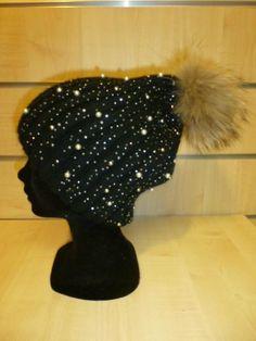 Bonnet noir perles et strass 5108A