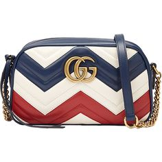 Gucci Red White & Blue 'Gg Marmont' Bag (€1.480) ❤ liked on Polyvore featuring bags, handbags, shoulder bags, blue and white handbag, pattern purse, shoulder bag purse, shoulder handbags and red white and blue handbags