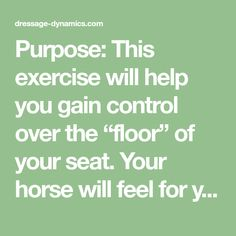 """Purpose: This exercise will help you gain control over the """"floor"""" of your seat. Your horse will feel for your seat and start to listen to it. You might be surprised at how effective your very small aids will become. Directions: Pick up a relaxed but active walk in a comfortably connected frame, and look …"""