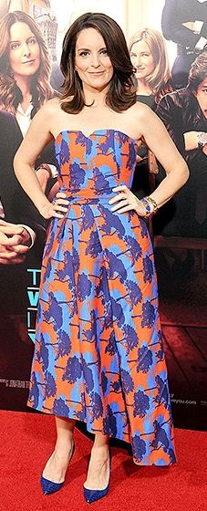 """Tina Fey attends the L.A. premiere of """"This is Where I Leave You"""" in an ankle-length Osman dress"""