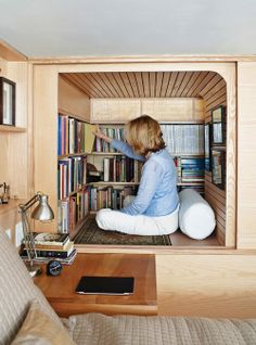How cute is this little nook? Id love this to house all my design&decorating books and magazines here. So i could just sit and slide right in..yes it would be built up off the floor so my bad joints having self can enjoy it.