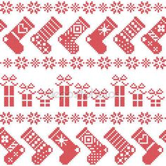 Ladda Ner - Skandinaviska nordiska jul mönster med strumpor, stjärnor, snöflingor, presenterar i korsstygn i rött — Stockillustration #78489216