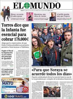 Los Titulares y Portadas de Noticias Destacadas Españolas del 6 de Abril de 2013 del Diario El Mundo ¿Que le parecio esta Portada de este Diario Español?