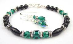 2 Piece Set: Emerald May Birthstone Bracelets in Onyx, Sterling Silver, and Swarovski Austrian Crystals Gemstone Gifts Handmade Jewelry. $89.95