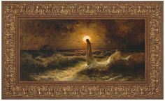 This is a depiction of Christ walking to His apostles a top a storm tossed sea. Images Of Christ, Pictures Of Christ, Bible Pictures, Religious Images, Lds Art, Wall Decor Pictures, Water Art, Image Photography, Framed Art