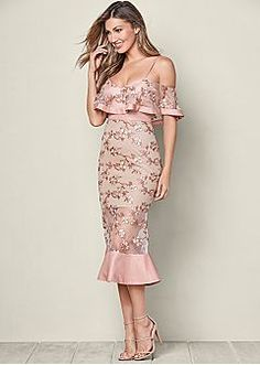 embroidered detail dress, high heel strappy sandal | VENUS