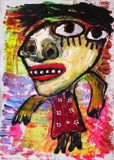 """""""Por encima de tu pelo veo una cabeza blanca"""" de Victoria Barranco @ VirtualGallery.com - Pintura acrílica en cartón de 50x70 cm (19.7x27.6 in). Arte marginal. Figura de una mujer inspirada en la visión de una pintura a contraluz. (2015)"""