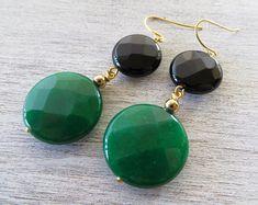 Green emerald earrings jade earrings black agate earrings