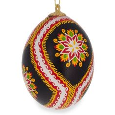 Lanchyn Chicken Size Blown Real Ukrainian Easter Egg Pysanky Ornament