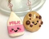 Cute Kawaii handmade Polymer clay sweet strawberry milk and choc chip cookie charms earrings