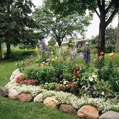 """Love the rock flower bed with ground cover. so lush... they either have a sprinkler system, or a much """"moister"""" climate!"""