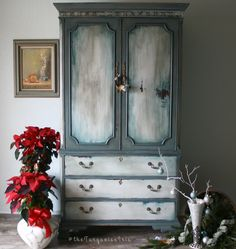 Delicious Colors on This Armoire / French Gray, White and Teal Cabinet Farmhouse by TheTurquoiseIris on Etsy