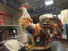 """FRENCH COUNTRY Large Ceramic Rooster FIGURINE Statue Multicolored 21"""" Tuscan"""
