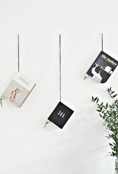 Minimal suede and wood magazine holder DIY