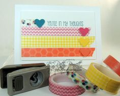 Easy Washi Tape card with heart punch accents