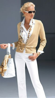 Love the white with camel.
