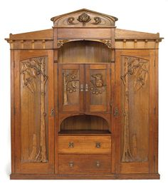 Furniture and pedestal by Robert Prenzel, a notable furniture maker/carver. Prenzel was a German woodcarver who immigrated to Australia in the 1880′s. He became well known for incorporating the flora and fauna of Australia with art nouveau designs in...
