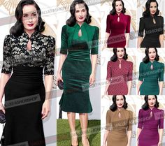 2014 Women Celebrity Elegant Vintage Pinup Tunic Ruched Keyhole Prom Evening Party Work Formal Bodycon Mermaid Midi Dress 858-in Dresses from Apparel & Accessories on Aliexpress.com | Alibaba Group