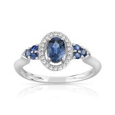 Bague argent 925 saphir diamant - Femme - Bague | Bijoux sur internet - MATY