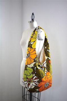 Sling Boho Bag Adjustable Messenger Sling Bag or Shoulder Bag Rare Vintage 1970s Fabric off of the Bolt