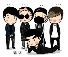 Haha Big Bang (from left to right) Seungri, GDragon, Taeyang, Daesung and on the floor is TOP