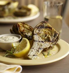 Rosemary Grilled Artichokes with Lemon Dipping Sauce