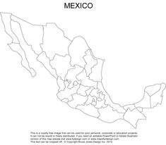 A Printable Map Of Mexico Labeled With The Names Of Each Mexican