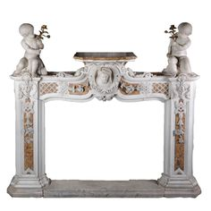 Exceptional Late 18th Century Fireplace Carved in Statuary and Brocatelle Marble | From a unique collection of antique and modern fireplaces and mantels at https://www.1stdibs.com/furniture/building-garden/fireplaces-mantels/