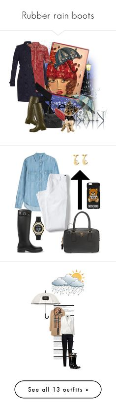 """""""Rubber rain boots"""" by arch-cbm ❤ liked on Polyvore featuring Burberry, Étoile Isabel Marant, Givenchy, Yves Saint Laurent, Gucci, 7 For All Mankind, Lands' End, Prada, Skechers and Moschino"""