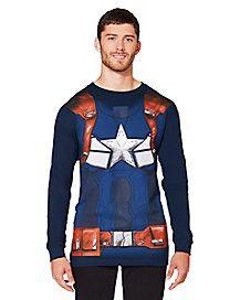 Adult Long Sleeve Captain America T-Shirt