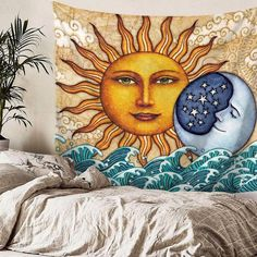 Shop our Sun & Moon Tapestry and add a bohemian touch to your living room. Mixing sun and moon together represents balance and harmony. Space Tapestry, Tapestry Bedroom, Wall Tapestry, Gold Bedroom Decor, Bedroom Modern, Blue Bedroom, Feng Shui, Sun And Moon Tapestry, Star Bedroom