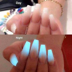 Glow in the dark ombre acrylic nail powder, neon acrylic nails, powder nails , Neon Acrylic Nails, Acrylic Nail Powder, Powder Nails, Acrylic Nail Designs, Nail Art Designs, Nails Design, Salon Design, Coffin Nails Ombre, Gradient Nails