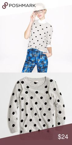 Jcrew polka dot sweater So cute! Soft and comfortable wool blend- not itchy! This sweater was well loved and cared for. J. Crew Sweaters Crew & Scoop Necks