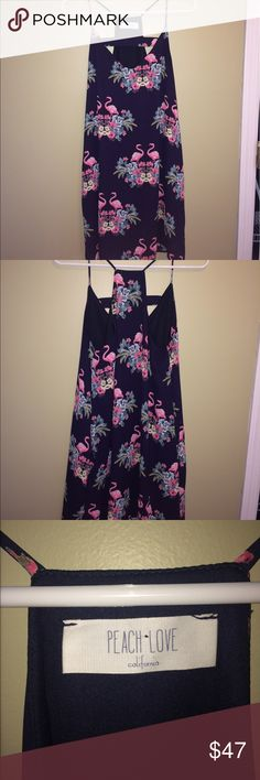 """Navy blue flamingo dress👗 Purchased at a boutique called """"The Noun"""" near my college campus. Super cute & easy to wear. Only worn once to a dinner ceremony. I posted a photo of me in the dress. Price is mostly firm due to it only being worn once Peach Love California Dresses"""