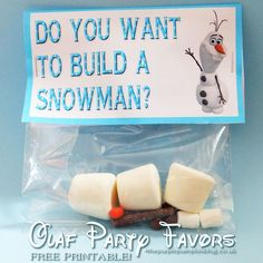 You will need these cute Olaf Party Favor bags if you're throwing a Frozen party! The free printable and instructions on how to make these are here!