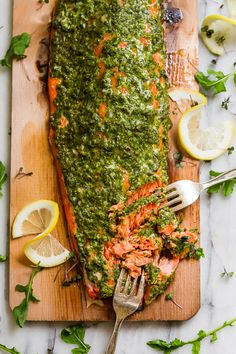 This Cedar Plank Grilled Salmon with Mixed Herb Chimichurri is a showstopper, but so easy to make! It's gluten free, dairy free, paleo, and clean eating. Fish Recipes, Seafood Recipes, Healthy Recipes, Grill Recipes, Tilapia Recipes, Cooking Recipes, Recipies, A Food, Food And Drink