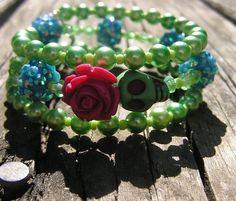 Day of the Dead Wrap Around Bracelet Frida Pink rose green Skull blues crystals #donnaelizabethdesign #Beaded