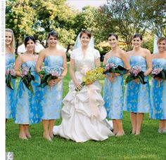 Adding to the festive palette, Micah's eight bridesmaids wore hand-painted silk shantung dresses in silvery blue with a subtle floral print. Micah wore a two-piece gown by Monique Lhuillier that featured an Alencon lace top with a V-neck and cap slee...